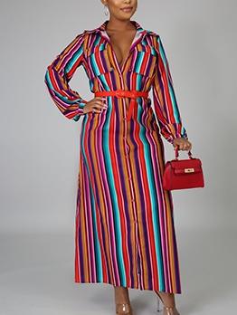 Single-Breasted Striped Long Sleeve Maxi Shirt Dress