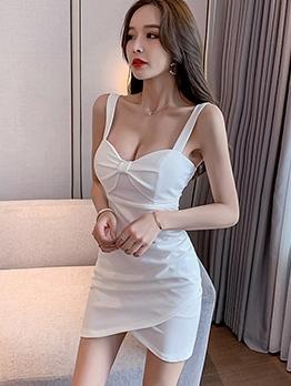 Twist Bow Decor White Sleeveless Sheath Dress For Club