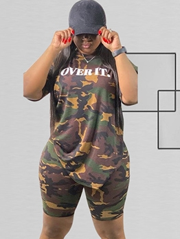 Plus Size Camouflage Short Sleeve Two Piece Outfits