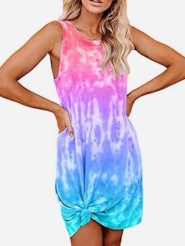 Colorful Tie Dye Loose Sleeveless Vest Dress