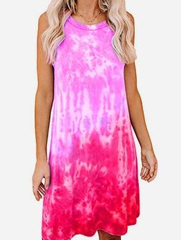 Casual Loose Tie Dye Sleeveless Tank Dress Short