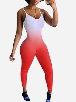 U Neck Gradient Color Printed Skinny Jumpsuit