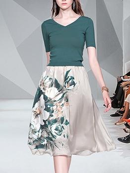 V Neck Short Sleeve Tee With High Waist Print Skirt