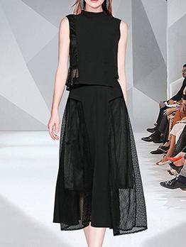 Fashion Sleeveless Black Two Piece Maxi Skirt Sets