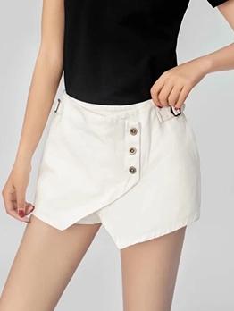 Back Zipper Irregular Hem Solid Color Hot Shorts