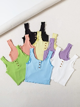 Button Up Pure Color Casual Wear Basic Tank Top