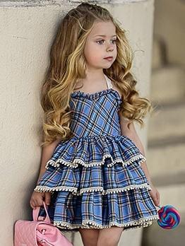 Summer Hot Sale Plaid Little Girl Tiered Dresses