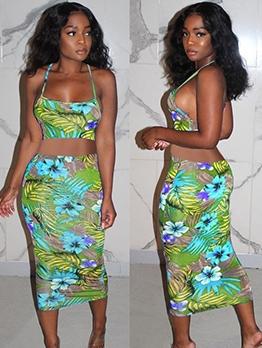 Fashion Sleeveless Floral Two Piece Skirt Set