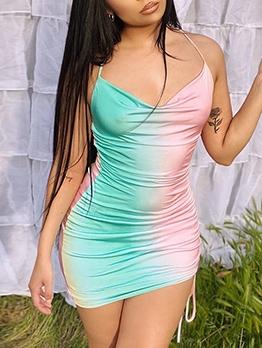 Summer Contrast Color Drawstring Short Sleeveless Dress