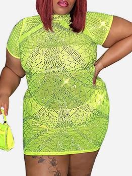 Rhinestone Decor Short Sleeve Plus Size Dresses