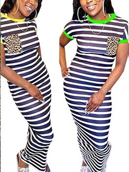 Contrast Trim Striped Short Sleeve Maxi Dress