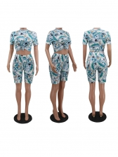 Dollar Print Short Sleeve Crop Top And Shorts Set Without Mask