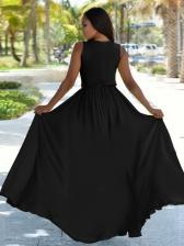 Sexy Deep V Neck Tie -Wrap Sleeveless Maxi Dress