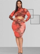 Mock Neck Tie Dye Plus Size 2 Piece Skirt Set