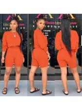 Solid Color Plain Two Piece Shorts Set For Women