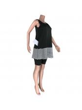 Side Pocket Stripes Stitching Sleeveless 2 Piece Outfits