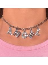 ANGEL Letter Pendant Rhinestone Female Chain Necklace