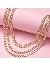 Metallic Glossy Color Thick Chain Multi Layered Necklace