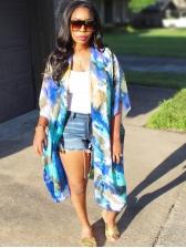 Summer Short Sleeve Tie Dye Long Coat