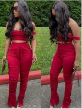 Solid Stacked Split Crop Top And Pant Set