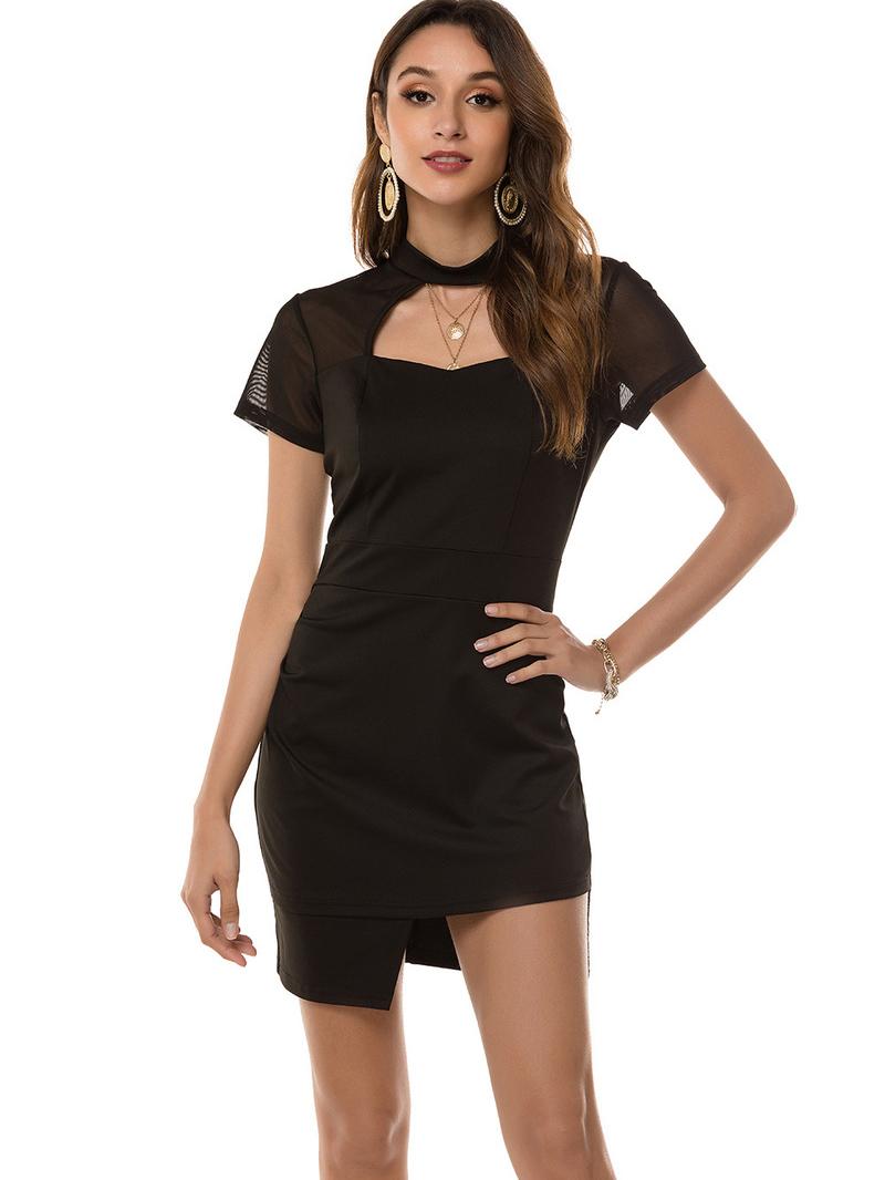 Cut Out Lace Patch Black Short Sleeve Dress Fashion