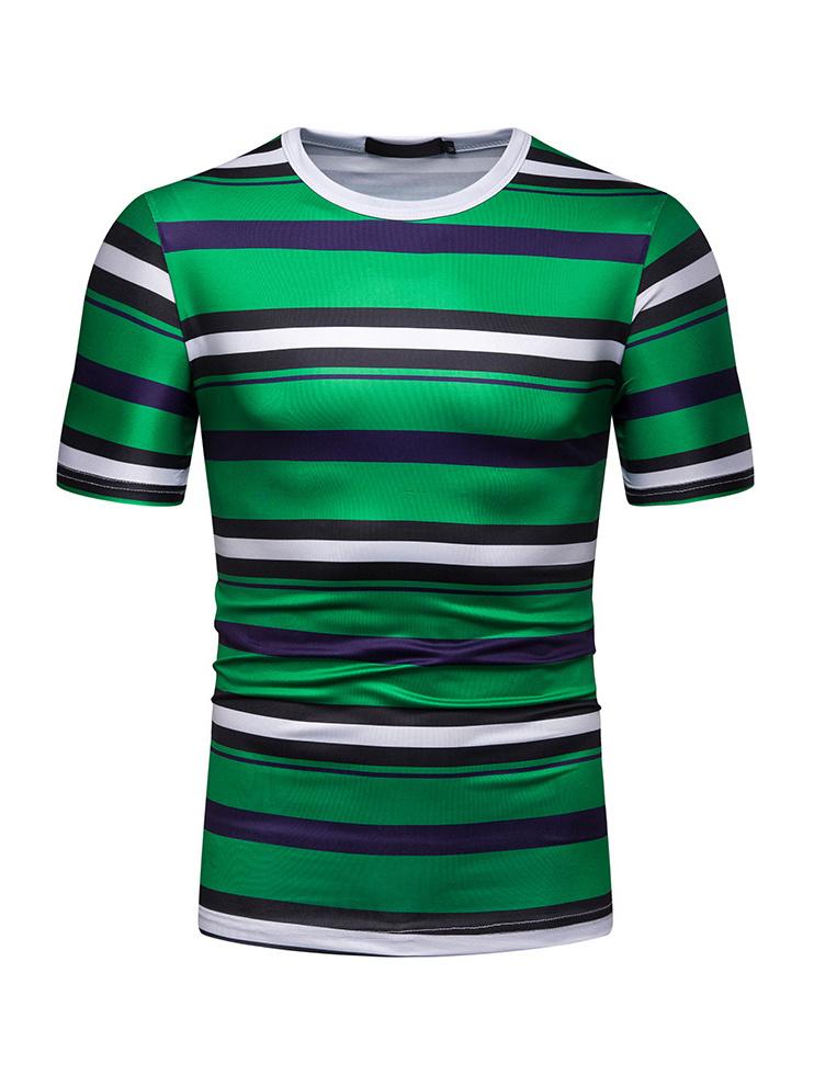 Crew Neck Short Sleeve Striped T Shirt