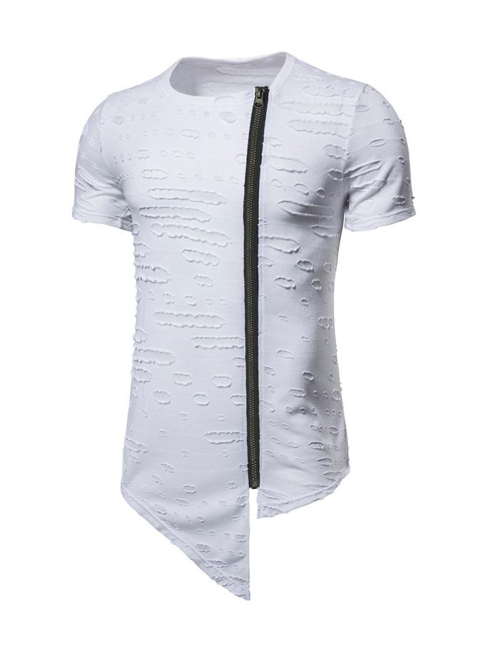 Irregular Zipper Hollow Out T Shirts For Men