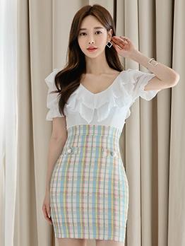 Ruffled Plaid Patchwork Short Sleeve Bodycon Dress