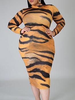 Mock Neck Tiger Print Long Sleeve Dress