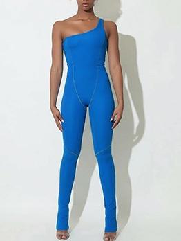 Inclined Shoulder Sport Style Female Skinny Jumpsuit