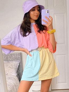 Stylish Color Block O Neck Loose T Shirt Dress