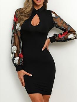 Fashion Embroidery Lantern Sleeve Bodycon Dress
