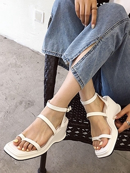Square Toe Solid Women's Wedge Sandals