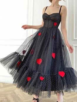 Sweet Heart Polka Dot Gauze Patch Large Hem Evening Dress