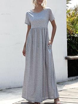Pocket Patch Short Sleeve Long Evening Dress Casual