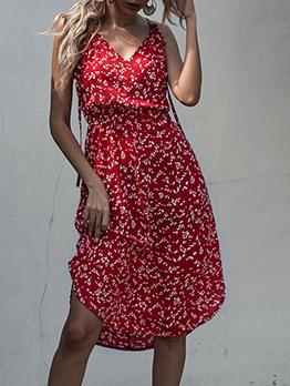 Smart Waist Sleeveless Floral Dress For Women