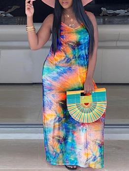 V Neck Sleeveless Tie Dye Maxi Dress Casual