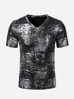 Casual V Neck Bronzing T Shirts For Men