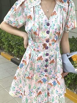 Single-Breasted Lantern Sleeve Print Short Dress