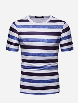 Summer Mens Short Sleeve Striped T Shirt