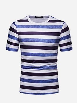 Summer Mens Short Sleeve Striped T Shirt