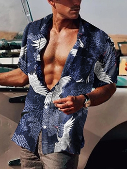 Casual Printed Short Sleeve Shirts For Men