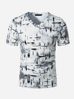 Ink Print Short Sleeve T Shirts For Men