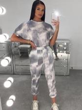 Hot Sale Tie Dye Short Sleeve Two Piece Pants Set