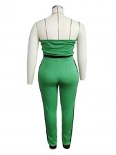 Smart Waist Green Plus Size Strapless Two Piece Sets