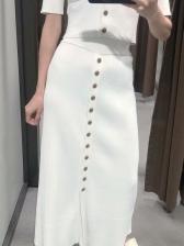 Summer Single-Breasted High Waist White Maxi Skirt
