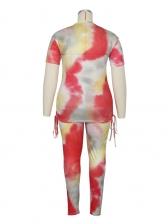 Side Drawstring Tie Dye Plus Size Two Piece Sets