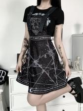 Punk Printed Adjustable Strap Black Suspender Dress