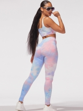 Gradient Color Crop Camisole With Skinny Pants