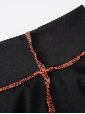 Stitching Stripes High Neck Split Hem Sexy Dresses